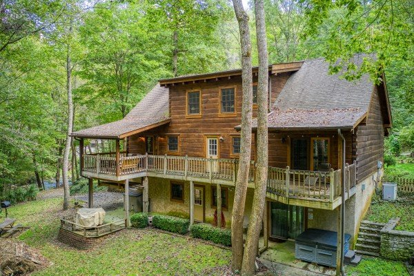 Cabin exterior at Stream On! A 2 bedroom cabin rental located in Pigeon Forge
