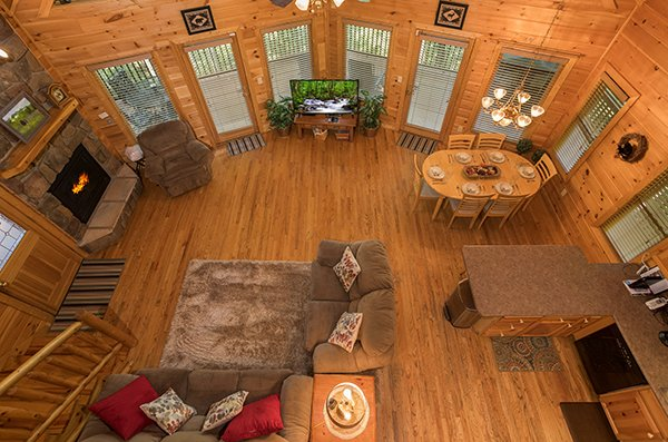 Looking down onto the main floor at Friends in High Places, a 4-bedroom cabin rental located in Pigeon Forge