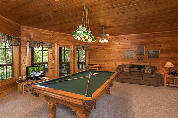 Pool table in the game room at Friends in High Places, a 4-bedroom cabin rental located in Pigeon Forge
