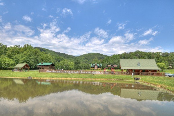 Overlooking the resort catch and release pond at Friends in High Places, a 4-bedroom cabin rental located in Pigeon Forge