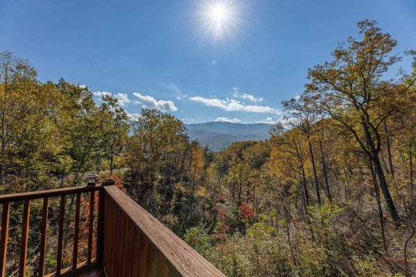 Deck view from the corner of the deck at Sensational Views, a 3 bedroom cabin rental located in Gatlinburg