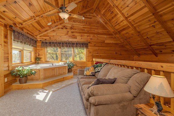 Loft with sleeper sofa and jacuzzi at Sensational Views, a 3 bedroom cabin rental located in Gatlinburg