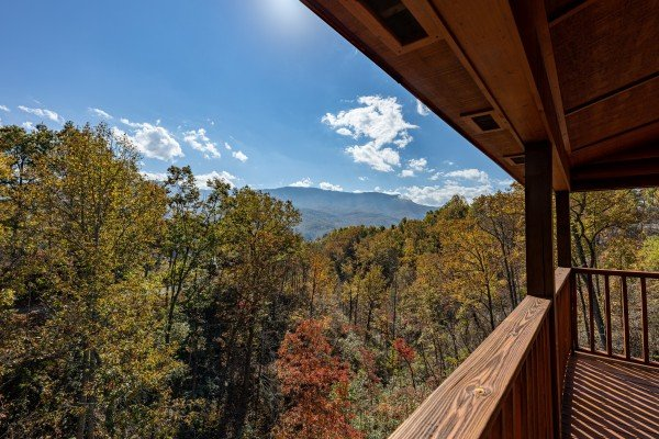 Mountain views from the covered deck at Sensational Views, a 3 bedroom cabin rental located in Gatlinburg