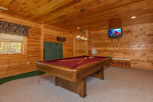 Pool table in the game room at Sensational Views, a 3 bedroom cabin rental located in Gatlinburg
