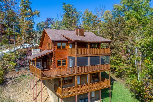 Drone view of the back of the cabin at Sensational Views, a 3 bedroom cabin rental located in Gatlinburg