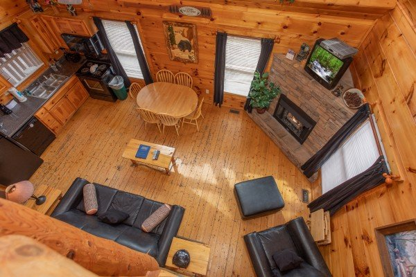 Looking down onto the main floor at Smoky Mountain Mist, a 3 bedroom cabin rental located in Gatlinburg