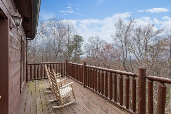 Wooded deck views at Smoky Mountain Mist, a 3 bedroom cabin rental located in Gatlinburg