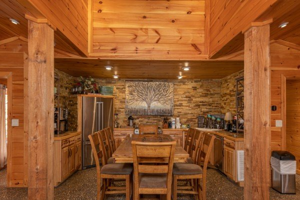 Dining space adjacent to the kitchen at La Dolce Vita, a 4 bedroom cabin rental located in Gatlinburg
