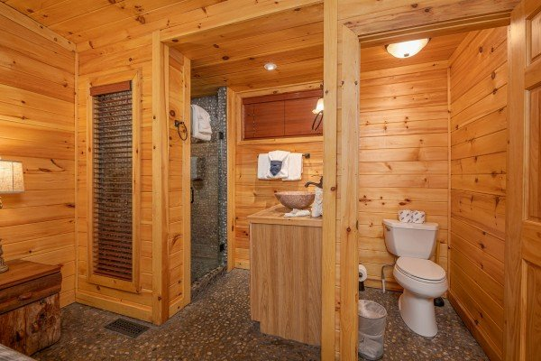 Bathroom with a shower, vanity, and toilet area at La Dolce Vita, a 4 bedroom cabin rental located in Gatlinburg