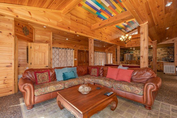 Large sectional sofa at La Dolce Vita, a 4 bedroom cabin rental located in Gatlinburg