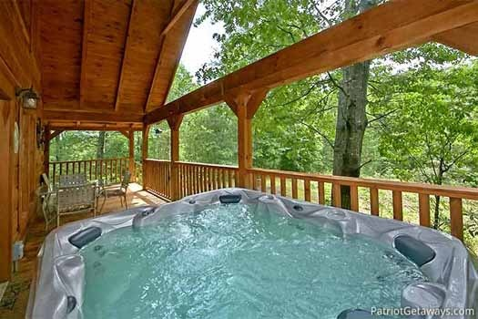 Hot tub on the deck at Fox Ridge, a 3-bedroom cabin rental located in Pigeon Forge