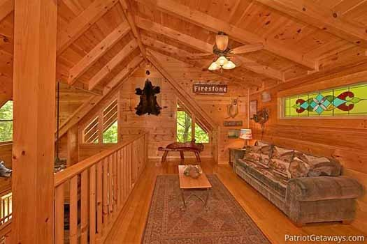 loft are with sofa bed at fox ridge a 3 bedroom cabin rental located in pigeon forge