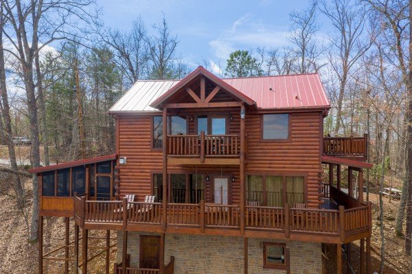 Drone rear exterior at Gone to Therapy, a 2 bedroom cabin rental located in Gatlinburg
