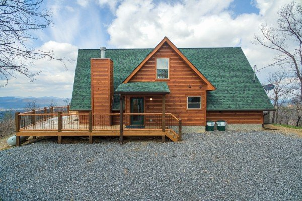 Large level gravel parking area at Pigeon Forge Panorama, a 2 bedroom cabin rental located in Pigeon Forge