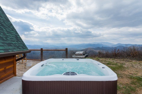 Views of the Smoky Mountains from the hot tub at Pigeon Forge Panorama, a 2 bedroom cabin rental located in Pigeon Forge