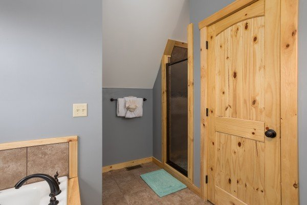 Walk in shower in the loft bathroom at Pigeon Forge Panorama, a 2 bedroom cabin rental located in Pigeon Forge
