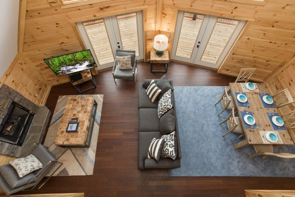 Looking down onto the main floor at Pigeon Forge Panorama, a 2 bedroom cabin rental located in Pigeon Forge