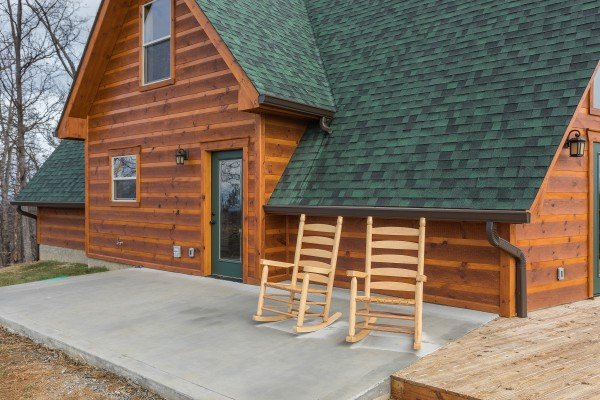 Rocking chairs on a patio at Pigeon Forge Panorama, a 2 bedroom cabin rental located in Pigeon Forge