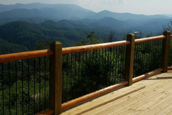 Smoky Mountain views from the deck at Pigeon Forge Panorama, a 2 bedroom cabin rental located in Pigeon Forge