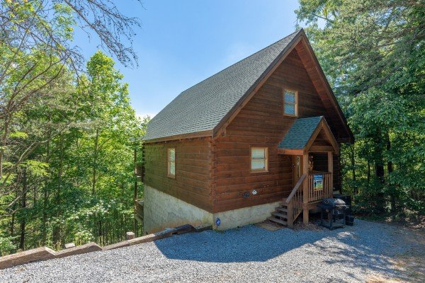 Exterior of cabin and parking at Brink of Heaven, a 2 bedroom cabin rental located in Gatlinburg