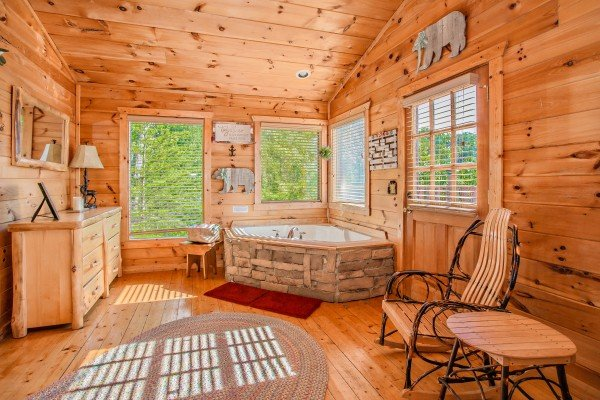 Corner jacuzzi tub at Sweet Serenity, a 2 bedroom cabin rental located in Gatlinburg