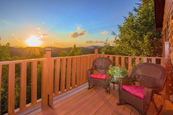 Sunset off the deck at Sweet Serenity, a 2 bedroom cabin rental located in Gatlinburg