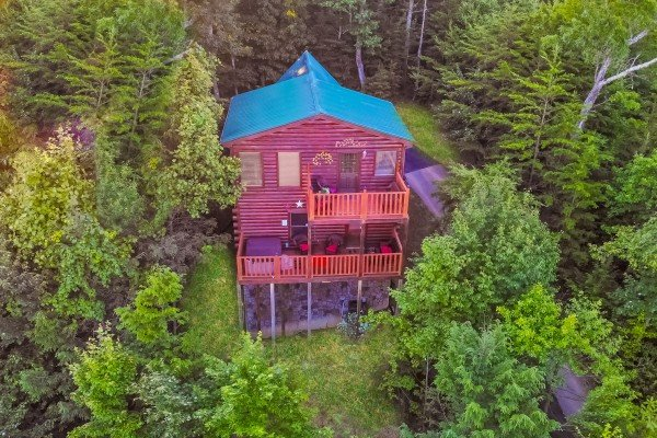 Looking back at Sweet Serenity, a 2 bedroom cabin rental located in Gatlinburg