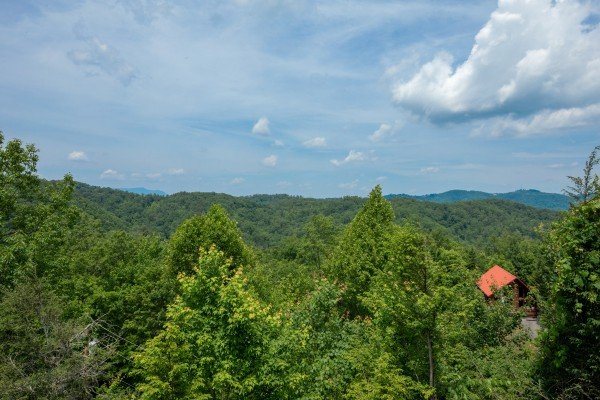 Mountain view from the upper deck at Sweet Serenity, a 2 bedroom cabin rental located in Gatlinburg