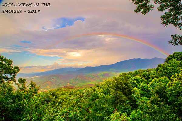 Rainbow over a mountain at Sweet Serenity, a 2 bedroom cabin rental located in Gatlinburg