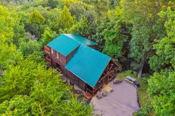 Looking down at Sweet Serenity, a 2 bedroom cabin rental located in Gatlinburg