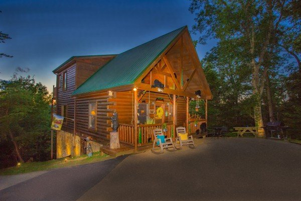 Cabin at twilight at Sweet Serenity, a 2 bedroom cabin rental located in Gatlinburg