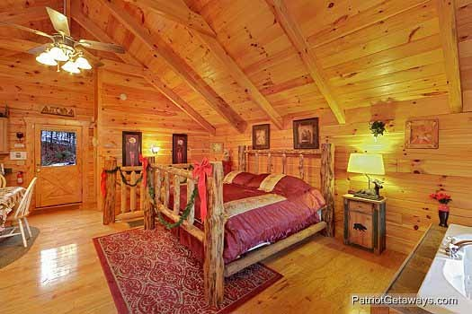 Main level king bedroom with jacuzzi tub at Scenic Mountain View, a 1 bedroom cabin rental located in Pigeon Forge
