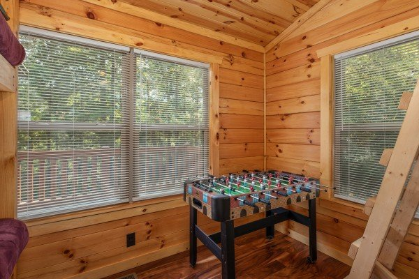 Foosball table at Paws on the Porch, a 2 bedroom cabin rental located in Gatlinburg