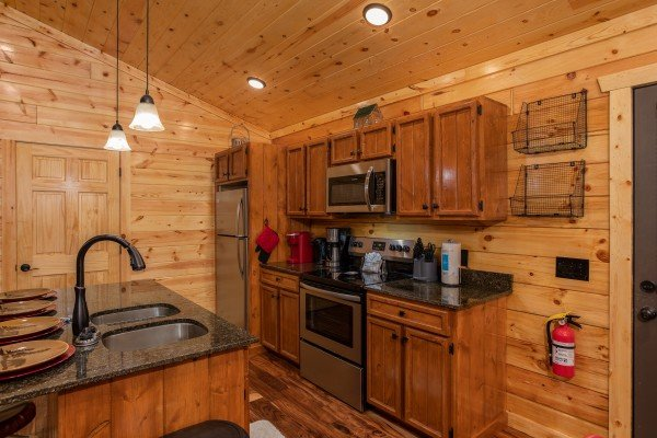 Kitchen with stainless appliances at Paws on the Porch, a 2 bedroom cabin rental located in Gatlinburg