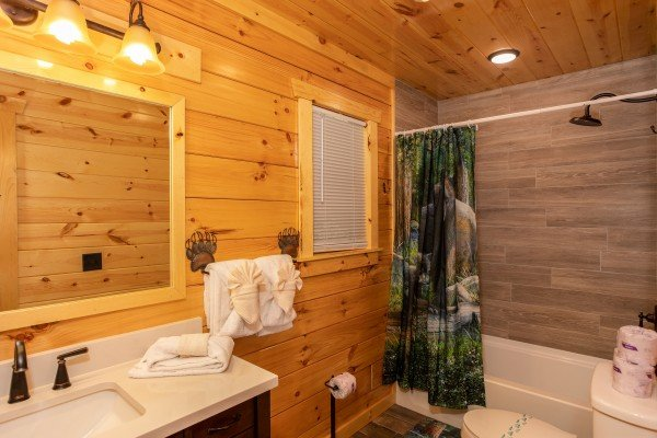 Bathroom with a tub and shower at Paws on the Porch, a 2 bedroom cabin rental located in Gatlinburg