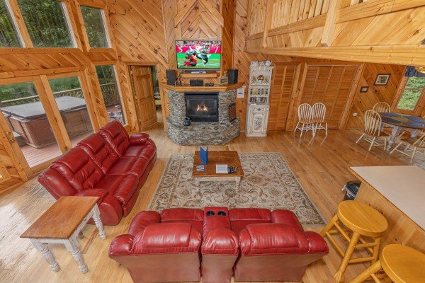 Looking down at the living room at Kaleidoscope, a 2 bedroom cabin rental located in Pigeon Forge