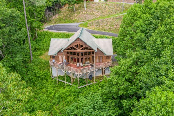 Looking down at Kaleidoscope, a 2 bedroom cabin rental located in Pigeon Forge