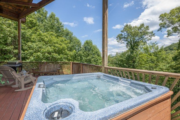 Hot tub views at Kaleidoscope, a 2 bedroom cabin rental located in Pigeon Forge