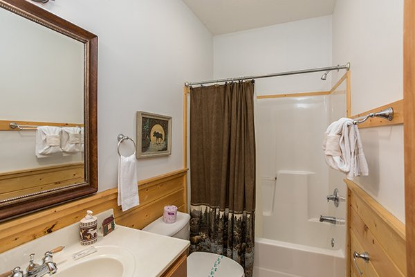 Bathroom with a tub and shower at At Home in the Woods, a 3-bedroom cabin rental located in Pigeon Forge