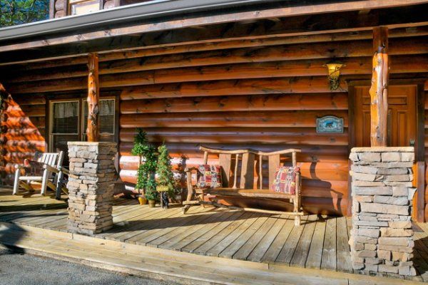 Front porch at Hidden Hideaway, a 3-bedroom cabin rental located in Pigeon Forge