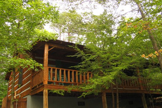 exterior back view at splendid isolation a 1 bedroom cabin rental located in pigeon forge