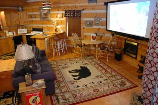 a large black bear rug at a point of view a 1 bedroom cabin rental located in pigeon forge