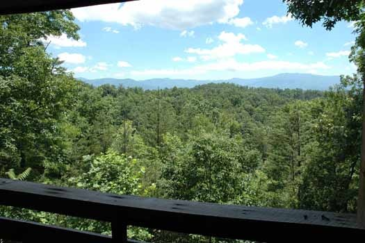 view from the deck at a point of view a 1 bedroom cabin rental located in pigeon forge
