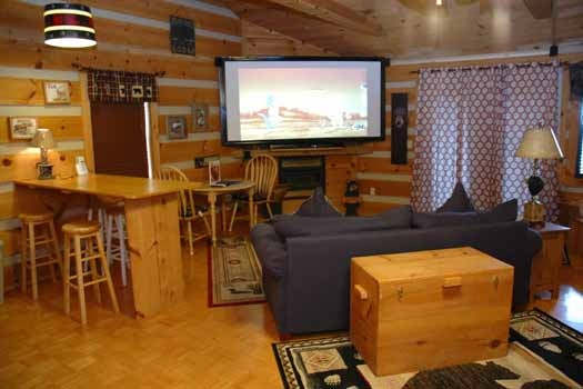 watch your favorite shows on a 10 foot projector screen at a point of view a 1 bedroom cabin rental located in pigeon forge