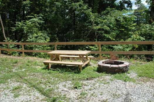 picnic table and fire pit at a point of view a 1 bedroom cabin rental located in pigeon forge