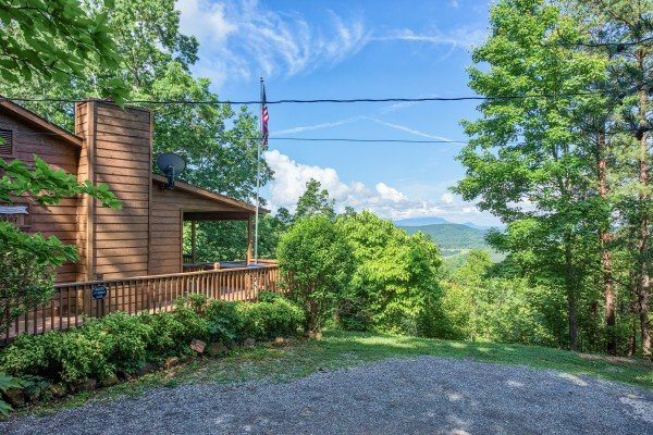 mountain view from the parking pad at america's view a 2 bedroom cabin rental located in pigeon forge