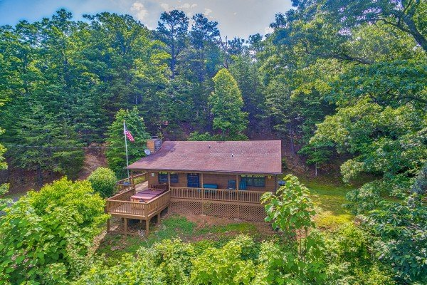 overhead drone view at america's view a 2 bedroom cabin rental located in pigeon forge