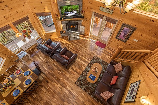 Looking down at the main floor at Southern Sunrise, a 4 bedroom cabin rental located in Pigeon Forge
