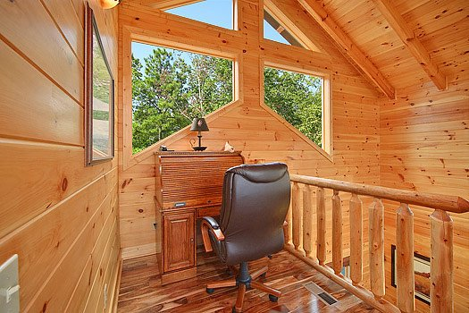 Writing desk in loft at Southern Sunrise, a 4 bedroom cabin rental located in Pigeon Forge