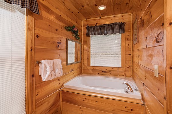 Jacuzzi in a bedroom at Just Relax, a 2 bedroom cabin rental located in Pigeon Forge
